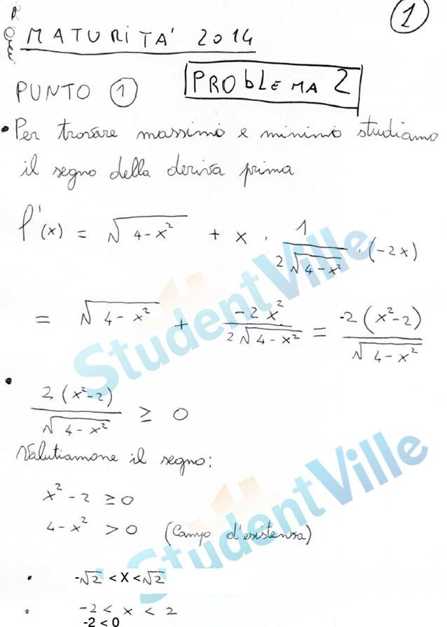 Maturità 2014, soluzioni problemi Matematica seconda prova ...