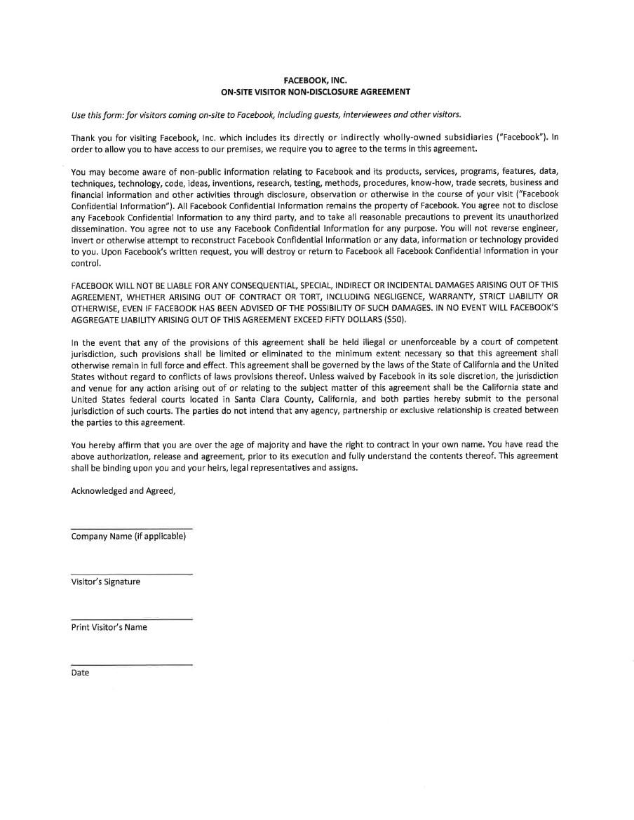 non disclosure agreement facebook