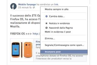 """Facebook introduce ufficialmente la funzionalità """"Incorpora post"""" già presente su Twitter"""