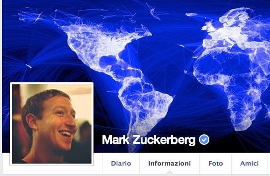 Il profilo Facebook di Zuckerberg