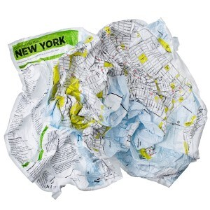 regali ecologici crumpled city map