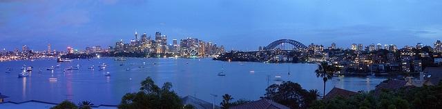 Sydney Harbour skyline a capodanno