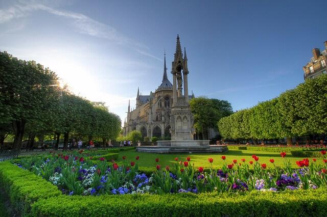 Giardino sul retro di Notre Dame