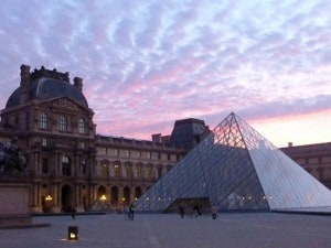 A picture shows the Louvre museum and th