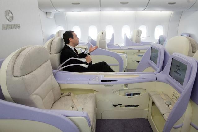Business class dell'Airbus A380 della Lufthansa