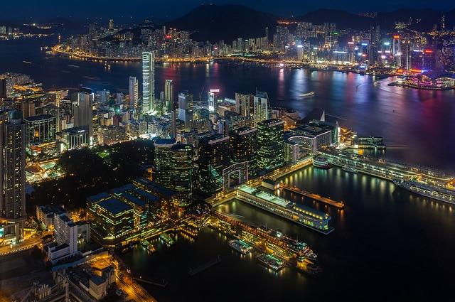Vista sul porto di Victoria, Hong Kong