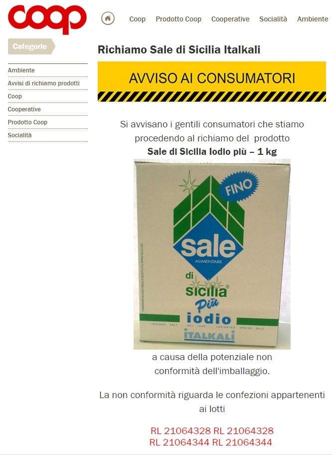 L'avviso della Coop circa il ritiro di alcuni lotti di Sale di Sicilia Italkali
