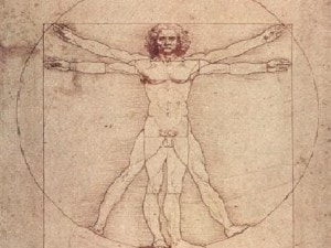 l'uomo vitruviano disegnato da Leonardo da Vinci
