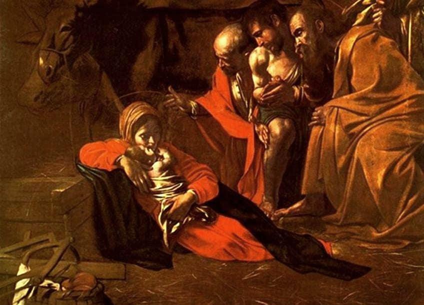 L'Adorazione dei Pastori (1609), particolare; Caravaggio, Museo Regionale di Messina