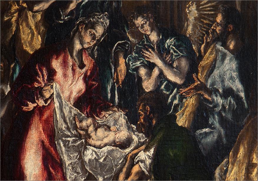 L'Adorazione dei Pastori (1612-1614), particolare; El Greco, Museo del Prado di Madrid