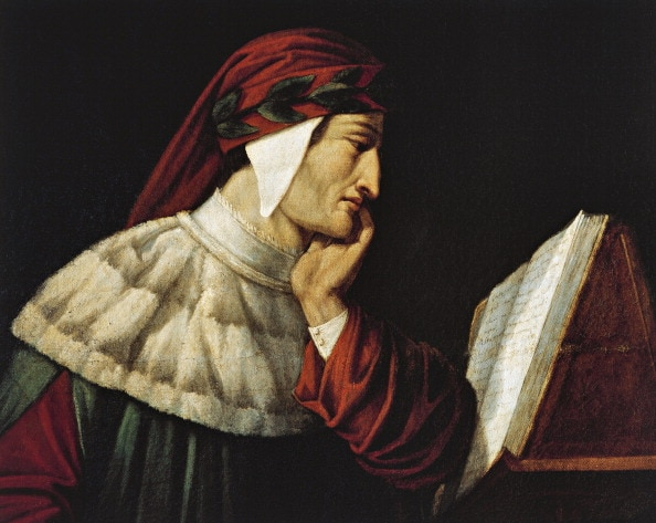 UNSPECIFIED – JULY 24: Portrait of Dante Alighieri (Florence, 1265–Ravenna, 1321). Painting by Attilio Roncaldier (1801–1884). Ravenna, Museo Dantesco (Photo by DeAgostini/Getty Images)