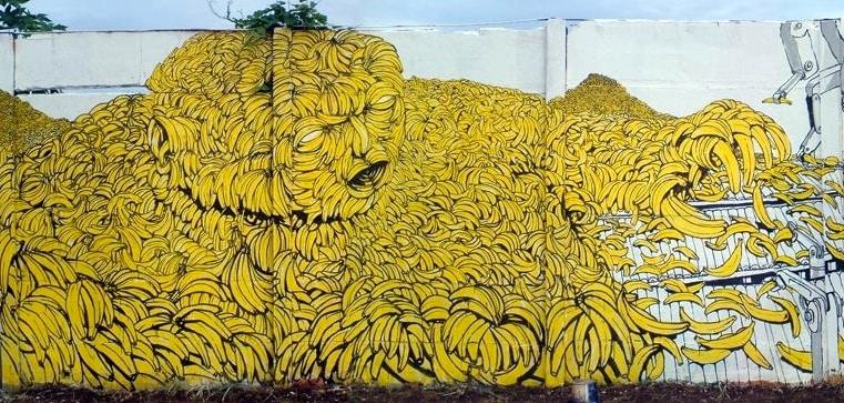 Blu, El hombre Banano, Avenida Bolovar, Managua, 2005