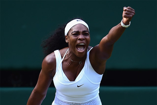 Serena Williams durante i campionati di Wimbledon nel 2015 (Foto @Shaun Botterill/Getty Images).