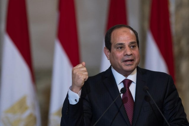 (151119) -- CAIRO, Nov. 19, 2015 (Xinhua) -- Egyptian President Abdel Fattah al-Sisi speaks after the signing ceremony held in the presidential palace in Cairo, Egypt, on Nov. 19, 2015. Egypt and Russia signed on Thursday an agreement to build a nuclear plant in the Arab country not long after a Russian plane crashed over Egypt's restive Sinai. (Xinhua/Pan Chaoyue)