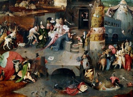 Hieronymus Bosch, Tentazione di Sant'Antonio (1500–1525), Museo del Prado, Madrid