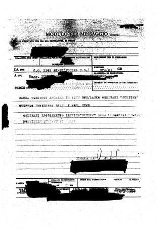 Uno dei documenti ritrovato dai giornalisti Andrea Palladino e Luciano Scalettari, che attestano la presenza di Jupiter a marzo del 1994 in Somalia