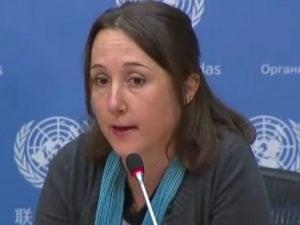 Eva Bartlett alla conferenza stampa organizzata dalla missione siriana all'Onu
