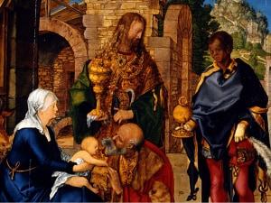 L'Adorazione di Albrecht Dürer, particolare