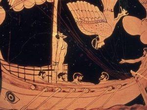 Odisseo e le sirene, dettaglio di un antico vaso greco