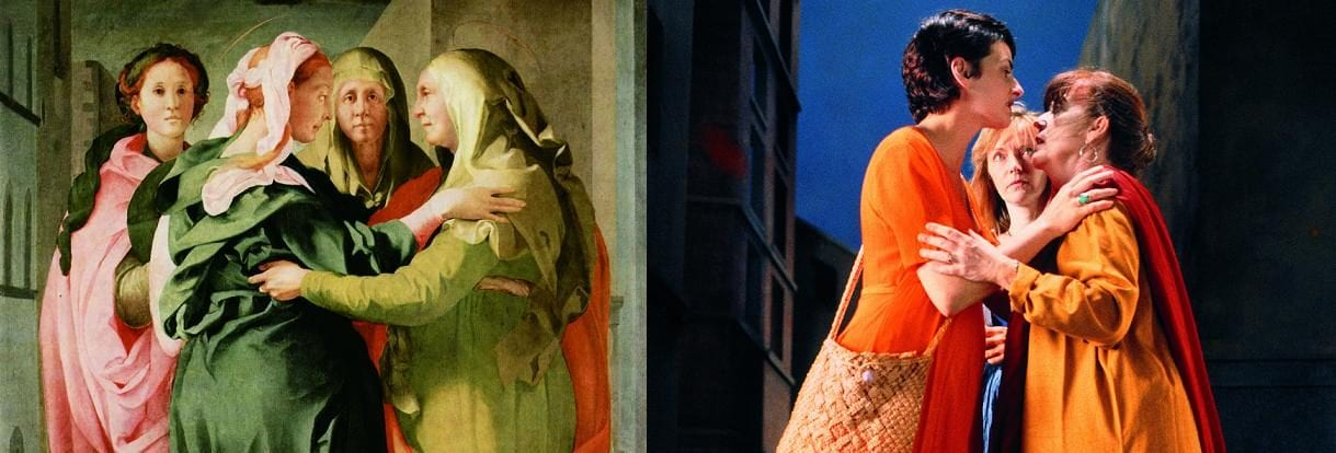 """A sinistra, la """"Visitazione"""" del Pontormo (1529), a destra Bill Viola, """"The Greeting"""" (Il saluto), 1995, Courtesy Bill Viola Studio"""