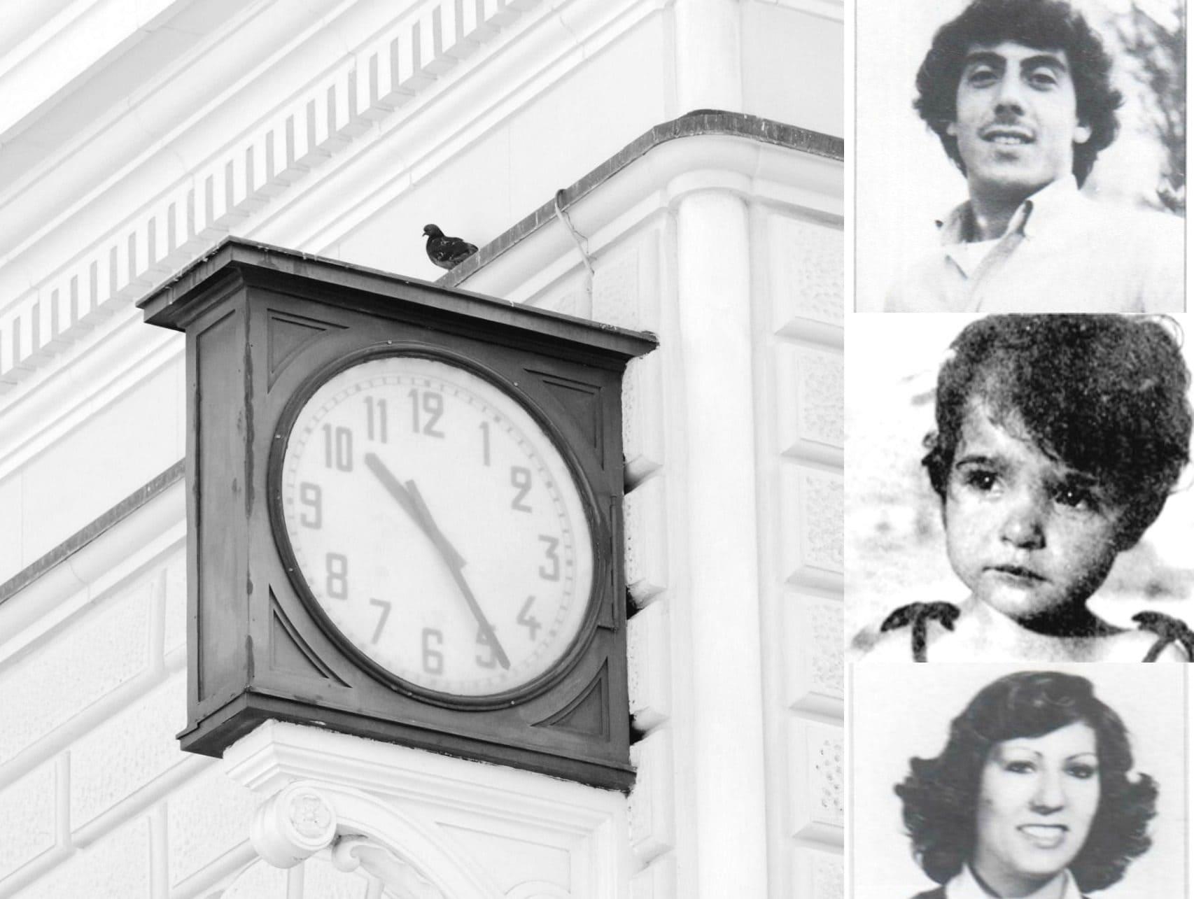 L'orologio della stazione rimasto fermo all'ora dello scoppio. A destra trevittime della strage: Leo Luca Marino, Angela Fresu e Angela Marino