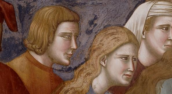 Giotto, particolare della Morte del Cavaliere di Celano (Assisi).