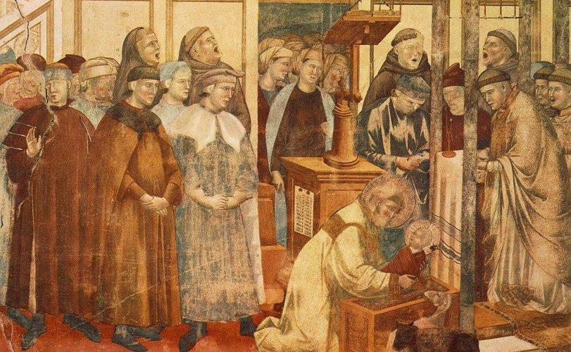 """Giotto, """"Il Presepe di Greccio"""" (1295), Basilica superiore di San Francesco di Assisi."""