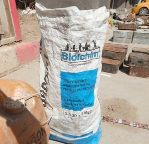 Un sacco di fertilizzante prodotto da Biolchim rinvenuto nel giugno 2016 a Mahmudiyah, Iraq.