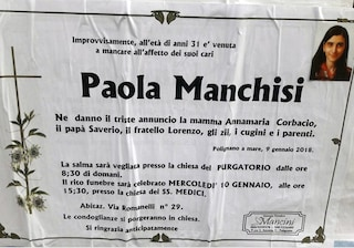 Paola Manchisi, morta di stenti in casa. Indagati per abbandono genitori e fratello, pesava 36 chili