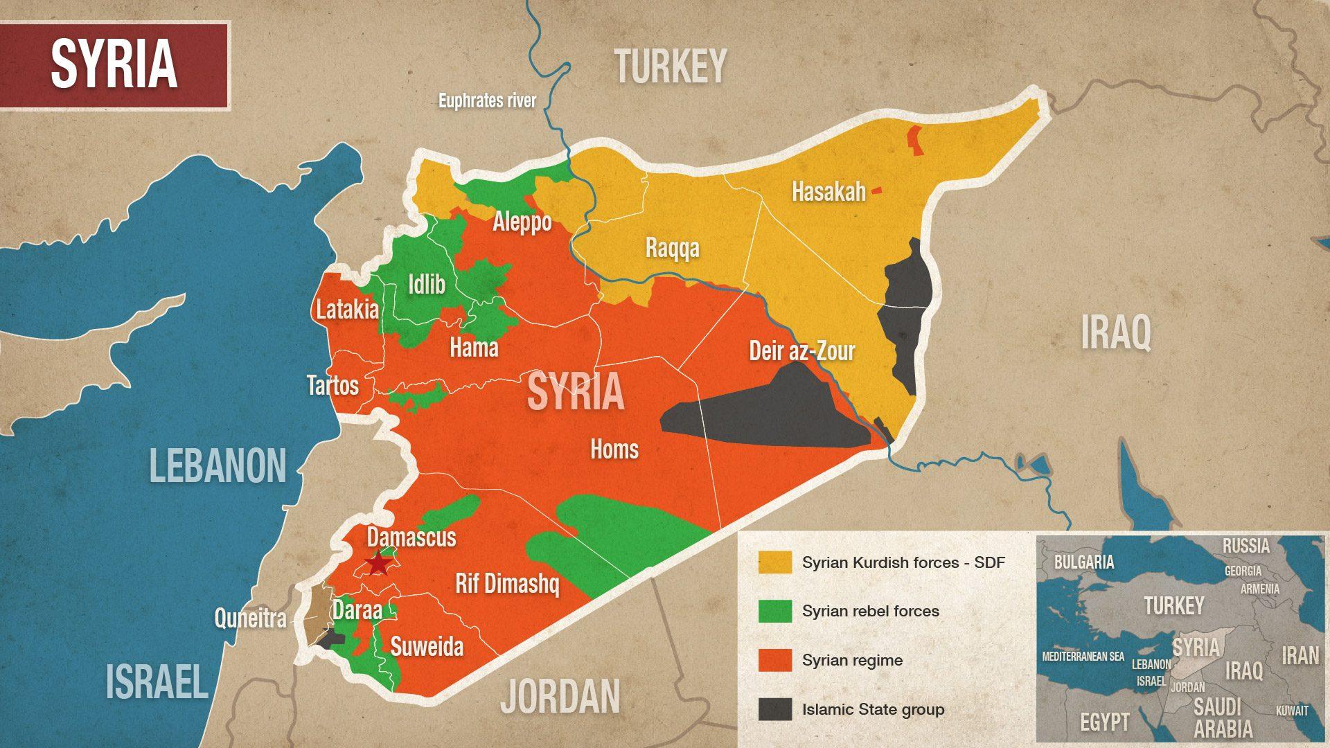 La mappa della Siria (Alaraby.co.uk)
