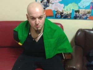 Luca Triani in stato di arresto in caserma.