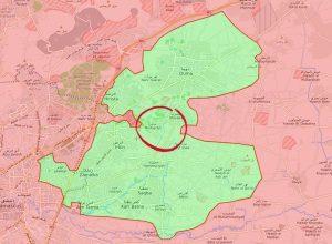 In verde l'area della Ghouta orientale controllata dai ribelli. Nel cerchio l'offensiva dell'esercito siriano per dividere in due la zona