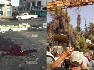 Il mercato ortofrutticolo luogo di uno degli attentati suicidi dell'Isis e a destra i tre terroristi impiccati davanti all'ospedale di Sweida