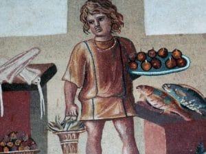 Mosaico romano rinvenuto a Pompei e oggi conservato presso l'Hermitage di San Pietroburgo.