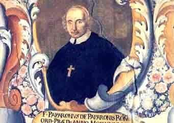 Il dipinto che raffigura il vescovo de Paperoni, a Spoleto.