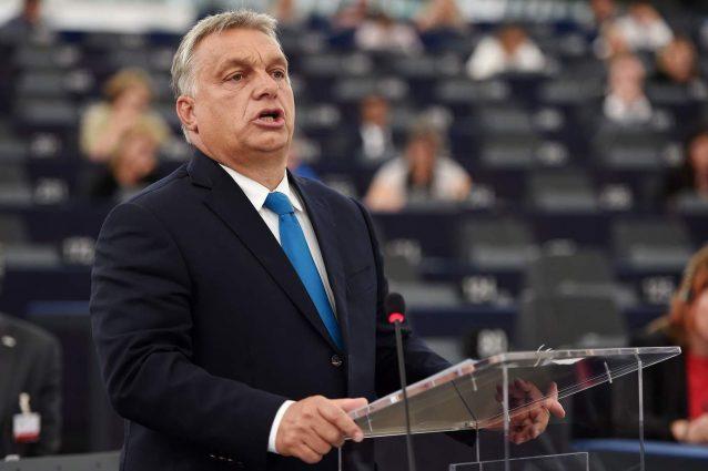 Il premier ungherese, Viktor Orban, durante il suo intervento al Parlamento europeo