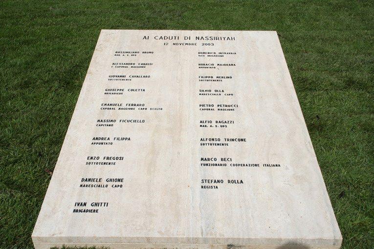 Una lapide in ricordo delle 19 vittime italiane della strage di Nassiriya