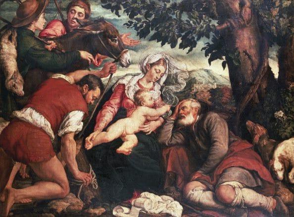 Riposo nella fuga in Egitto, Jacopo Bassano (Pinacoteca Ambrosiana, Milano).