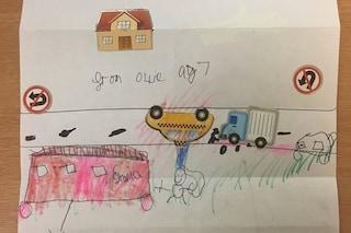 """""""Grazie per aver aiutato me e papà"""", il disegno straziante del bimbo testimone di un incidente"""