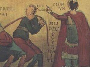 Particolare dell'affresco conservato nella basilica di San Clemente in Laterano, a Roma.