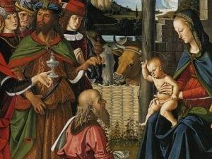 Particolare dell'Adorazione dei Magi del Perugino (1475), Galleria Nazionale dell'Umbria.