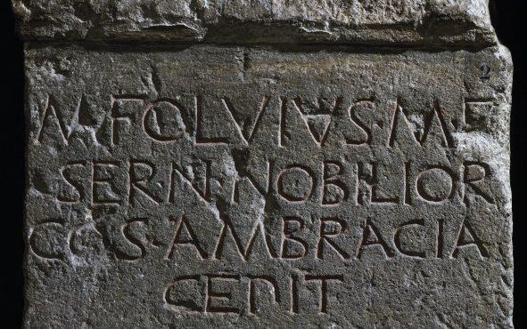 Stele in onore di Fulvio Nobiliore e delle sue vittorie militari (Museo Capitolino, Roma).