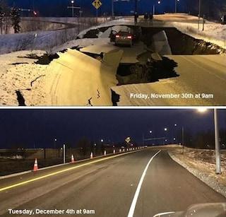 Alaska, il terremoto distrugge la strada: ricostruita in appena 4 giorni