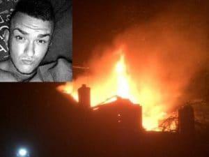 La casa in fiamme e una delle vittime