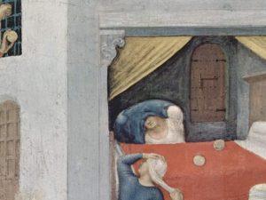 """Il """"Miracolo della dote"""" di San Nicola dipinto da Gentile da Fabriano (1425), Polittico Quaratesi, Galleria degli Uffizi, Firenze."""