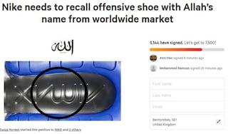 """Migliaia di musulmani contro Nike: """"Ha scritto Allah sul fondo delle scarpe. E' blasfemia"""""""
