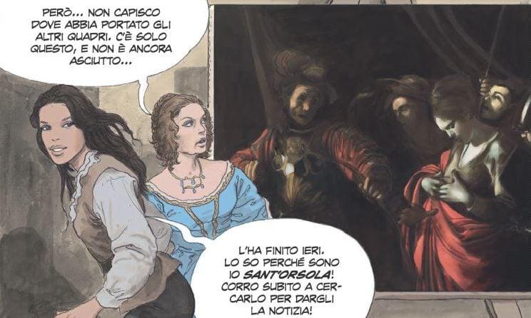 """""""Caravaggio - La Grazia"""": la vita di Michelangelo Merisi disegnata da Milo Manara. Nella tavola, il """"Martirio di Sant'Orsola""""."""