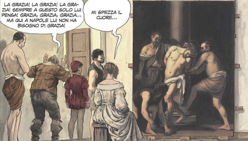 """""""Caravaggio - La Grazia"""" di Milo Manara, pubblicato da Panini Comics: nella tavola, la """"Flagellazione di Cristo"""" del 1607."""