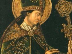 Il vescovo e martire Valentino, in un dipinto di Leonhard Beck conservato nel Museo Nazionale della Fortezza di Coburg, in Germania.