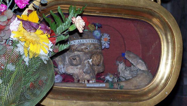 Il teschio conservato nella Basilica di Santa Maria in Cosmedin, a Roma.